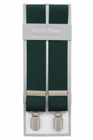Plain Green Mens Elastic Trouser Braces With Silver Coloured Feather Edged Clips - Available In 3 Sizes